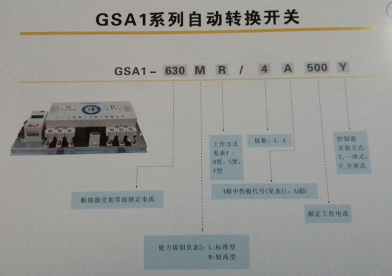 GSA1自动转换开关选型