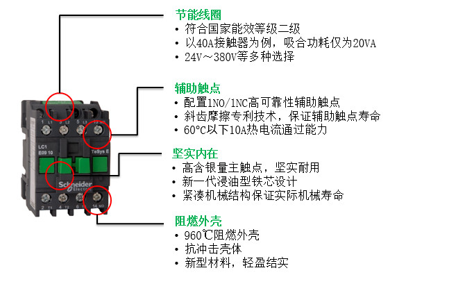 施耐德50a220v交流接触器lc1e50m5n