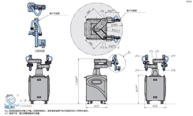川崎机器人同轴双手臂的构造不仅实现了双手臂作业,也实现了2台定位