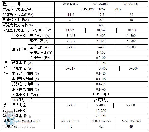 奥太wsm系列直流脉冲氩弧焊机 wsm-315/400/500c