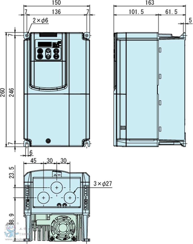 富士变频器15kw 风机水泵型frn15f1s-4c 3相ac380v/50hz/60hz