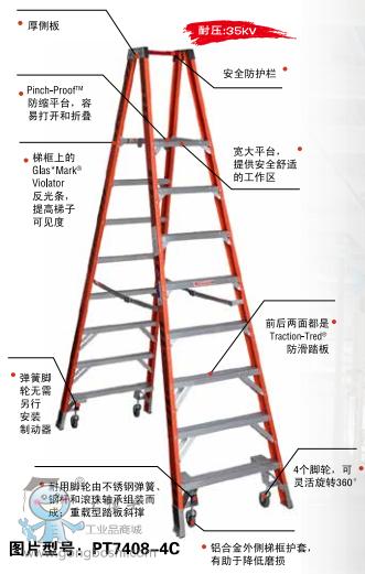 美国WERNER稳耐 PT7408玻璃钢双侧平台人字梯  4、6、8、10级