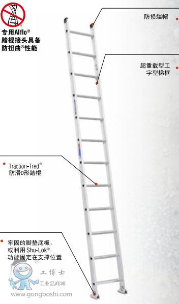 美国WERNER稳耐 铝合金D型踏棍防扭曲直梯 D1512-1