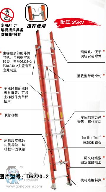 美国WERNER稳耐 玻璃钢D形踏棍两节延伸梯 D6220-2