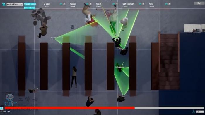 警官在VR系统中进行逼真的射击场景