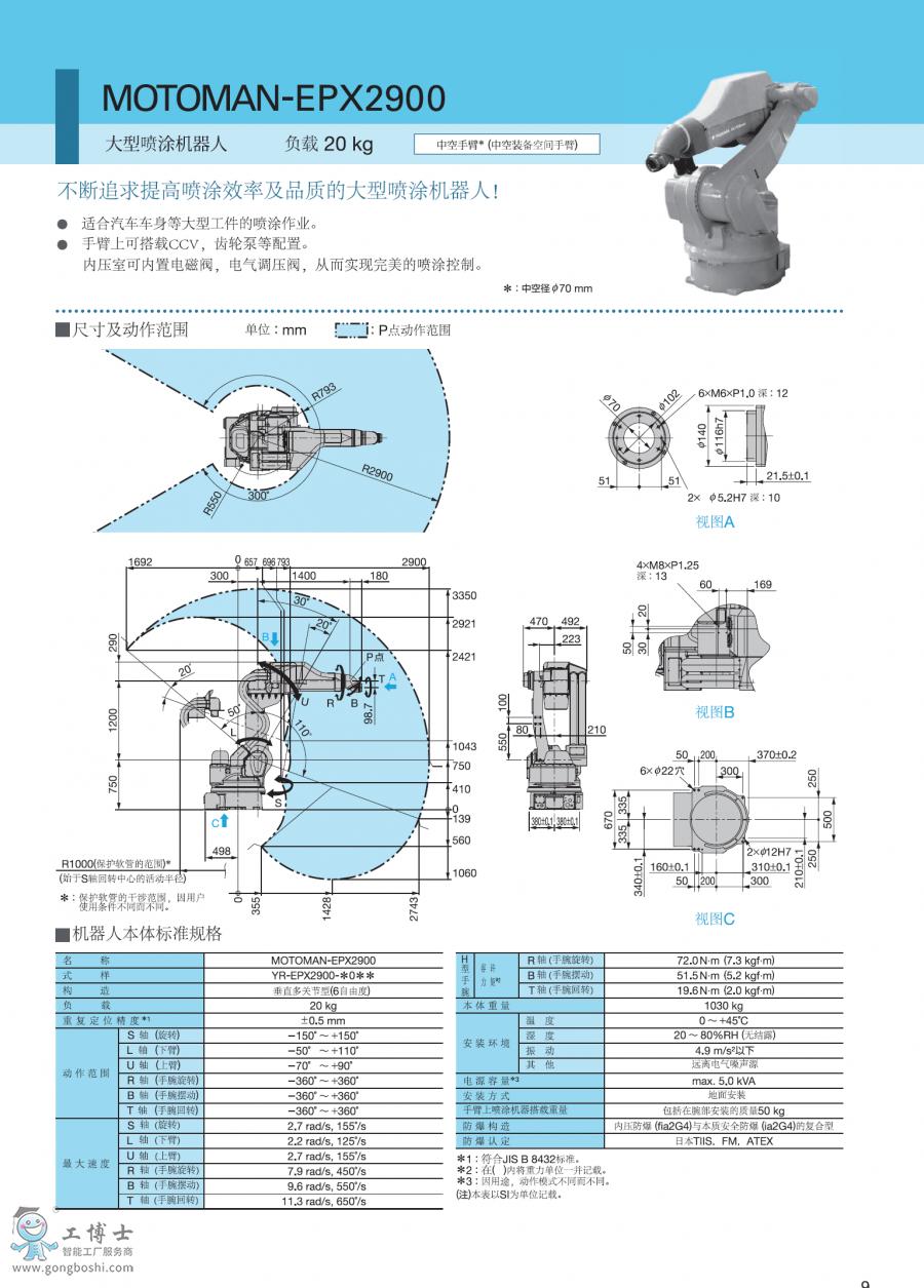 安川喷涂机器人EPX2900尺寸图片